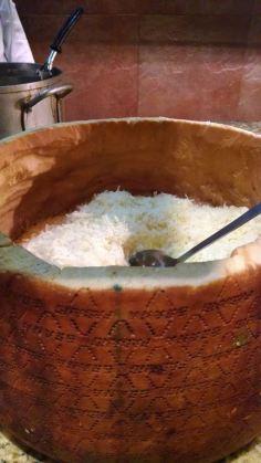parmesean cheese in a dried cheese bowl