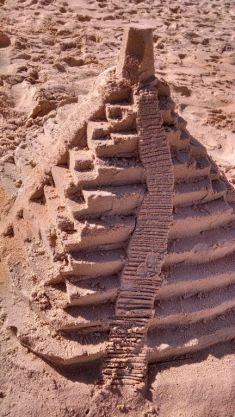Building a sand Mayan Ruin